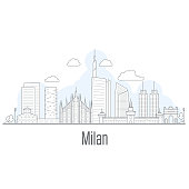 Milan city skyline - cityscape with landmarks in liner style