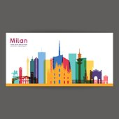 Milan colorful architecture vector illustration, skyline city silhouette, skyscraper, flat design.