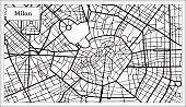 Milan Italy City Map in Black and White Color. Hand Drawn. Vector Illustration. Outline Map.