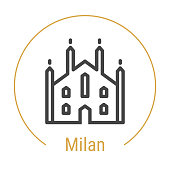 Milan, Italy Vector Line Icon with Gold Circle Isolated on White. Milan Landmark - Emblem - Print - Label - Symbol. Milan Cathedral Pictogram. World Cities Collection.