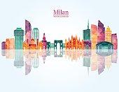Milan skyline. Vector illustration
