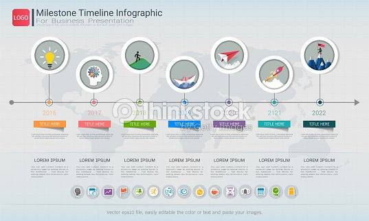 milestone timeline infographic design road map or strategic plan to