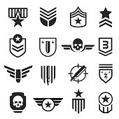Military and army design element icon set. Soldiers or armed forces decor. Vector line art illustration isolated on white background