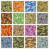 Military and marine uniform camouflage patterns. Vector army combat camo seamless fabric pattern set