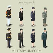 Military army officer commander patrol SWAT people in holiday uniform flat isometric 3d game avatar user profile icon vector illustration set. Creative people collection. Build your own world.