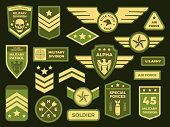 Military badges. American army badge patch or airborne squadron chevron. Military air force medals emblem. Insignia vector isolated symbols illustration collection