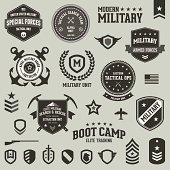 Set of military and armed forces badges and labels.