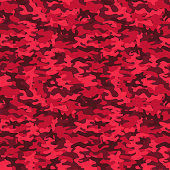 Military camo seamless pattern. Red camouflage. Vector background for your design.