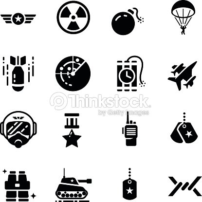 Military Equipment Accessories Vector Icon Set Vector Art