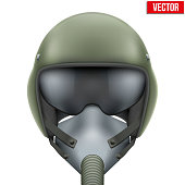 Military flight fighter pilot helmet of Air Force with oxygen mask. Vector illustration isolated on white background.