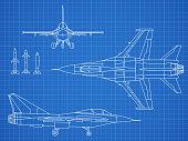 Military jet aircraft drawing vector blueprint design. Aircraft military plan blueprint illustration