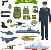 Officer with weapon, transportation, personal equipment icon set. Gun and rifle, grenade, helmet and boots, armour and backpack, knife, tank, airplane and helicopter, submarine and warship