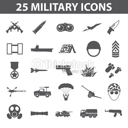 Military Set 25 Black Simple Icons Army And Weapon Icon