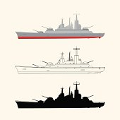 Military ship in three different versions. Vector contains transparent objects.