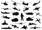Vector military silhouettes collection. EPS 8