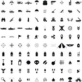100 military simple black icons set isolated on a white