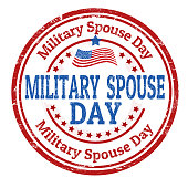 Military spouse day sign or stamp on white background, vector illustration