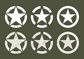Different U.S Military stars in clean and sray paint version