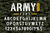 Military stencil font on camouflage background. Rough and grungy stencil alphabet with numbers in retro army style. Vintage masculine font for stencil-plate. Vector