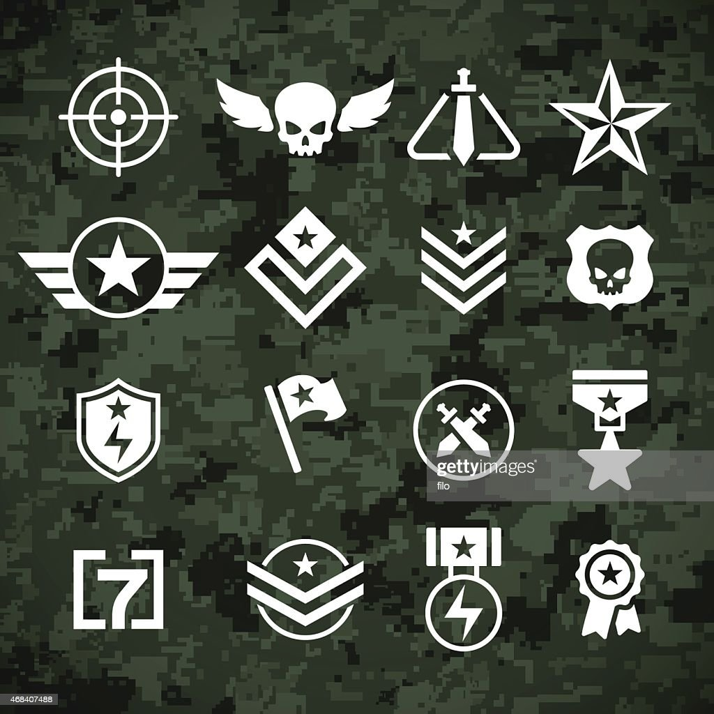 Military Symbols And Camoflage Pattern Vector Art | Getty ...