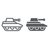 Military tank line and glyph icon, war and army, vehicle sign, vector graphics, a linear pattern on a white background, eps 10.