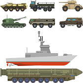 Military transport vector vehicle technic army war tanks and industry armor defense transportation weapon illustration. Exhibition international fighting conflict weaponry system.