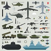 Military weapons of Army naval and air force - vector illustration
