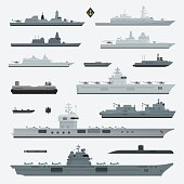 Military weapons of navy battleship. Vector illustration.