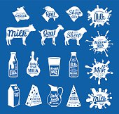 Vector cheese and milk labels. Dairy products, farm animals icons and milk splashes with sample text. Cheese and milk icons collection for groceries, agriculture stores, packaging and advertising.