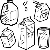 Doodle style milk and juice illustration set in vector format. Includes paper and plastic cartons and full glass of liquid. EPS10 file format with no transparency effects.