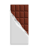 Milk chocolate bar in blank wrapper mock up. Sweet dessert in package template. Place for text, symbol. Graphic design element for packaging, poster, flyer, dessert advertisement. Vector illustration
