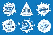 Vector milk product labels. Milk, yogurt, cream, cheese icons and splashes with sample text. Dairy product icons collection for grocery, agriculture store, packaging and advertising