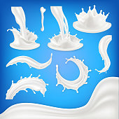 Milk Splash Set Vector. White Wave, Drop, Blots Liquid. Food Drink Natural Eco Healthy Product. Pouring Product Design Element. Realistic Illustration