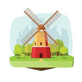Mill farm on nature landscape vector illustration, flat carton style retro dutch windmill near forest on city background