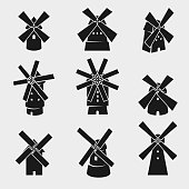 Collection mill set, edit size and color, vector