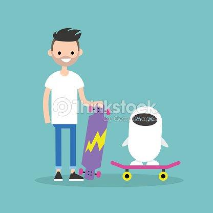 Millennial boy teaching a robot to ride on a skateboard / Flat editable vector illustration
