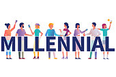 Millennial concept. Group students with gadgets in their hands. Vector illustration flat design. Isolated on white background. Modern fashionable young people. Generation y.
