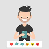 Millennial, conceptual illustration. Young character picking up the emoticon icon to rate the post in social media. Flat editable vector cartoon, clip art