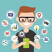 Millennial consuming online content on mobile device / flat editable vector illustration, clip art
