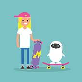 Millennial girl teaching a robot to ride on a skateboard / Flat editable vector illustration