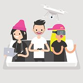 Millennials using different devices: laptop with headphones, drone and VR glasses. New technologies conceptual illustration. Flat editable vector, clip art