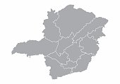 A gray map of the Minas Gerais State divided into regions, Brazil