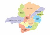 A colorful map of the Minas Gerais State divided into regions, Brazil