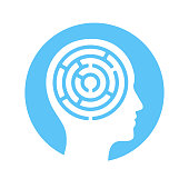 Human head silhouette with maze inside, mind complexity psychology concept. Vector icon illustration.