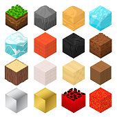 Mine Cubes Signs 3d Icon Set Isometric View Include of Grass, Brick, Ice, Wood, Sand and Lava. Vector illustration of Icons