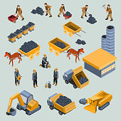 Set of 18-th century and modern mine workers with work tools, horse drawn cart with coal, mining equipment, quarry industrial machines and factory isometric projection isolated vector illustration