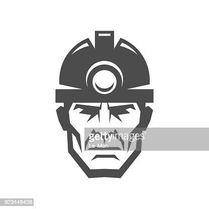 Miner In A Helmet Logo Collier Icon Vector Art Thinkstock