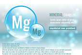 Mineral mg, Magnesium complex with chemical element symbol. Pharmaceutic, medical background with space for text.
