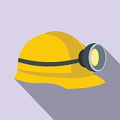 Miners helmet with lamp flat icon on a lilac background