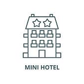 Mini hotel vector line icon, outline concept, linear sign